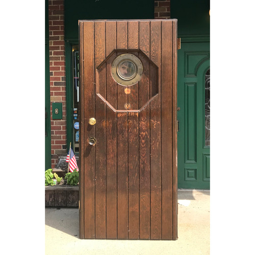 "D18083 - Vintage Varnished Pine Exterior Door with Brass Porthole Window 35-3/4"" x 79-1/4"""
