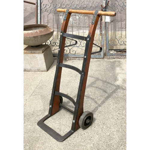 A18105 - Antique Oak and Iron Two Wheeled Hand Cart