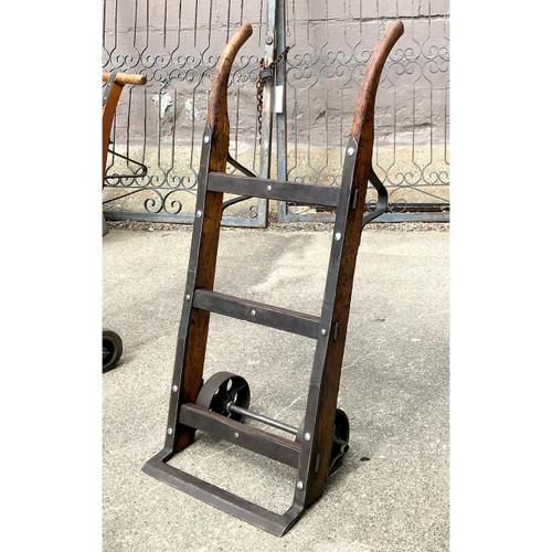 A18106 - Antique Oak and Iron Two Wheeled Hand Cart