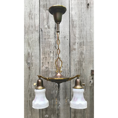 L18087 - Antique Two Light Ceiling Light Fixture