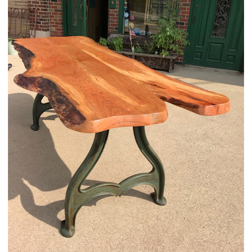 F18083 - Custom Industrial Cherry Dining Table with Antique Iron Legs