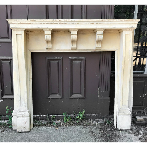 M18013 - Antique Georgian Style Painted Poplar Half Mantel