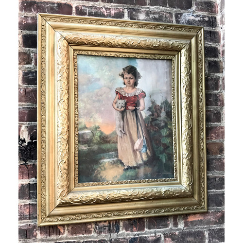 A18124 - Antique Late Victorian Era Frame with Print