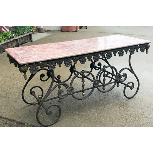 F18086 - Vintage Marble Topped Wrought Iron Table