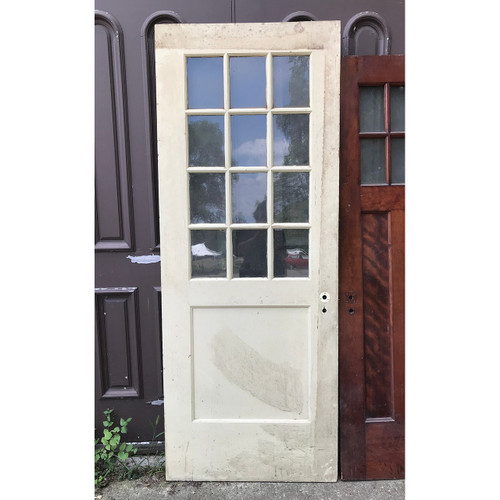 "D18107 - Antique Revival Period Pine Exterior Door with Glass 32"" x 82"""