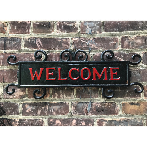 "A18129 - Antique Polychrome Cast Iron ""Welcome"" Sign"