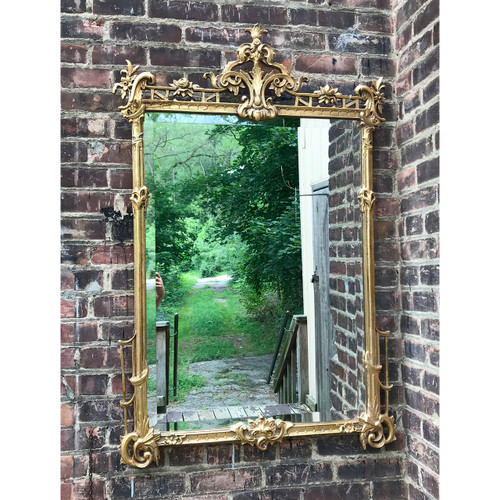 A18133 - Reproduction Gilt Frame Beveled Glass Mirror