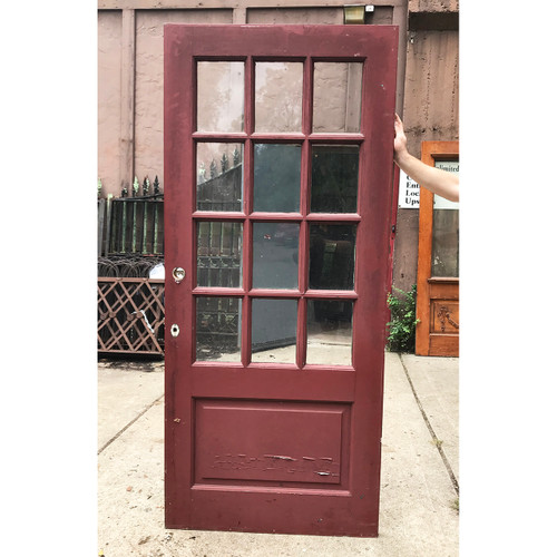 "D18129 - Antique Revival Period Painted Pine Exterior Door with Glass 36"" x 81-1/2"""
