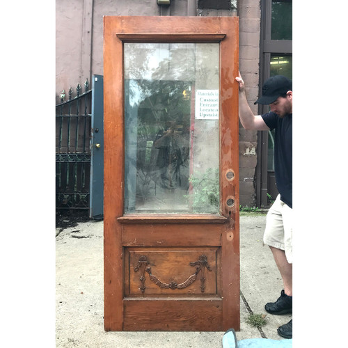 """D18130 - Antique Colonial Revival Pine Exterior Door with Glass 36"""" x 83"""""""