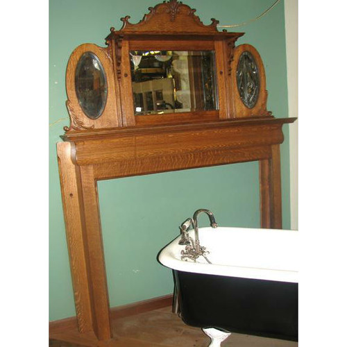 701044 - Antique Late Victorian Empire Style Mantel