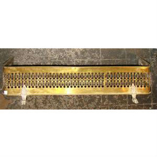 805264 - Antique Late Victorian Brass Mantel Fender