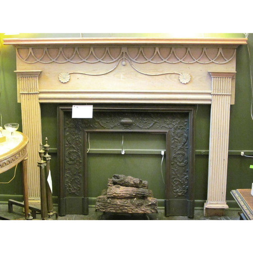 M13002 - Antique Federal Period Pine Half Mantel