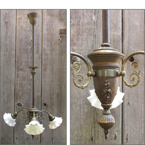 607493 - Antique Victorian Ceiling Light Fixture with Ruffled Milk Glass Shades