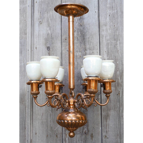 608012 - Antique Six Arm Ceiling Light Fixture with Steuben Shades