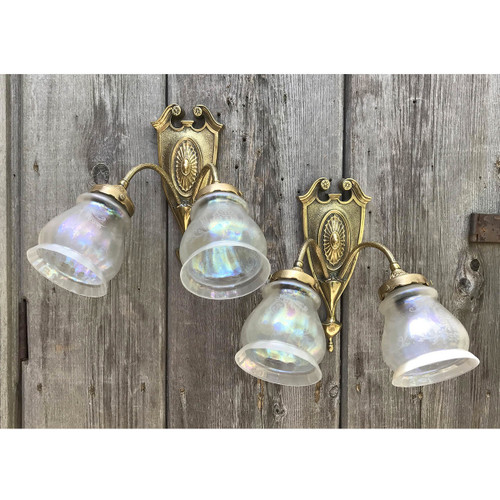 608665 - Pair of Antique Double Arm Wall Sconces With Antique Etched Glass Shades