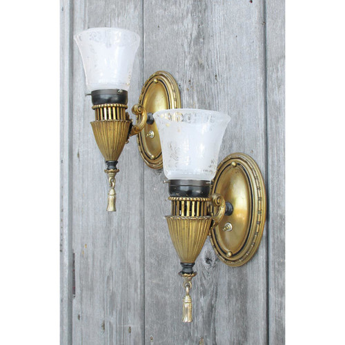 608911 - Pair of Antique Neoclassical Wall Sconces Etched Shades