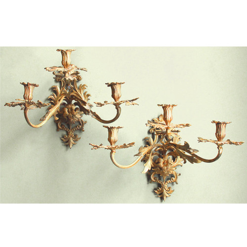 609005 - Pair of Antique French Three Arm Candle Wall Sconces