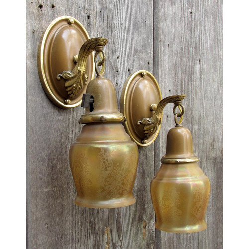 609271 - Pair of Antique Neoclassical Wall Sconces with Etched Amber Shades