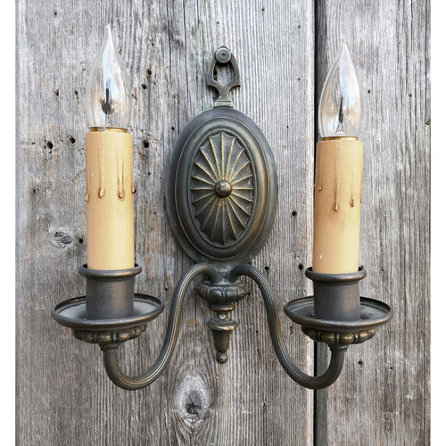 609749 - Antique Colonial Revival Candle Arm Wall Sconce