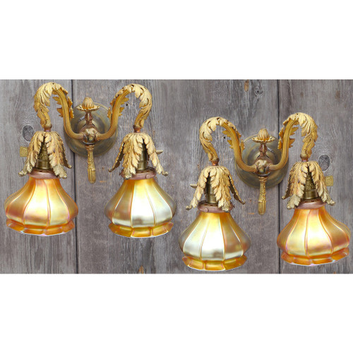 610223 - Pair of Antique Victorian Double Arm Wall Sconces with Quezal Shades