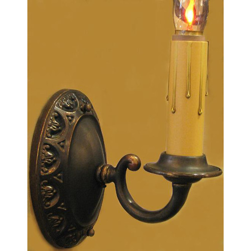610247 - Antique Tudor Revival Candle Arm Wall Sconce