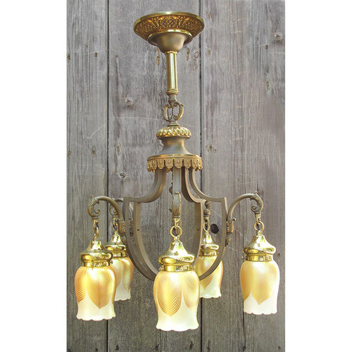 L10118 - Antique Five Arm Ceiling Light Fixture with Steuben Shades