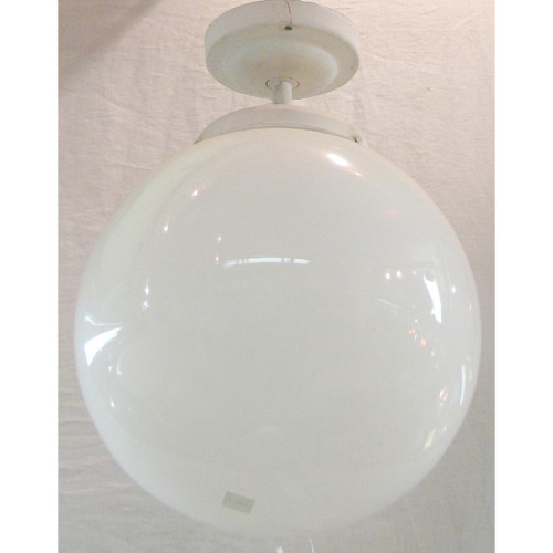 L10661 - Vintage Ceiling Light Fixture with Milk Glass Globe - Unrestored