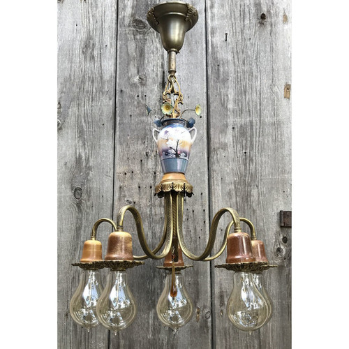 L10663 - Antique Colonial Revival Five Arm Bare Bulb Light Fixture
