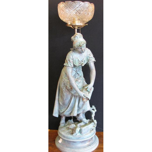 L10720 - Antique Figural Table Lamp with Wheel Cut Shade