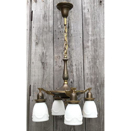 L10777 - Antique Neoclassical Four Light Ceiling Fixture