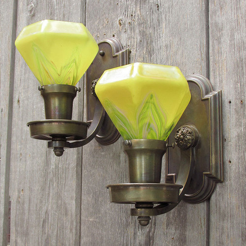 L11019 - Pair of Antique Wall Sconces with Art Glass Shades