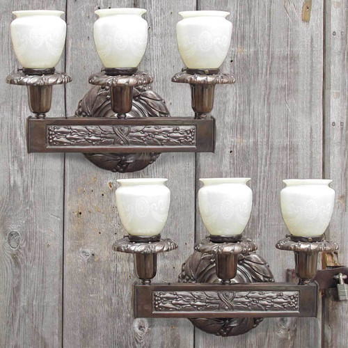L11083 - Pair of Antique Cast Bronze Wall Sconces with Art Glass Shades