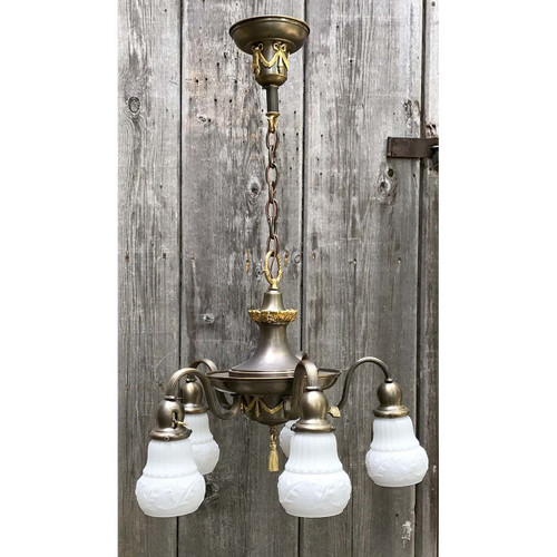 L12177 - Antique Colonial Revival Five Light Ceiling Fixture with Etched Cased Glass Shades