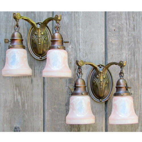 L12254 - Pair of Antique Double Arm Wall Sconces with Cameo Shades