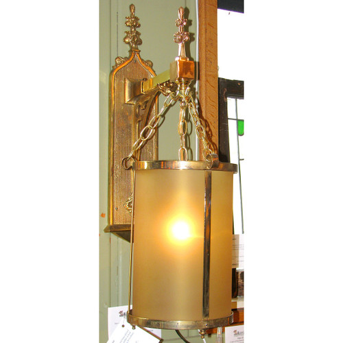 L12255 - Large Scale Antique Tudor Revival Wall Sconce with Amber Glass