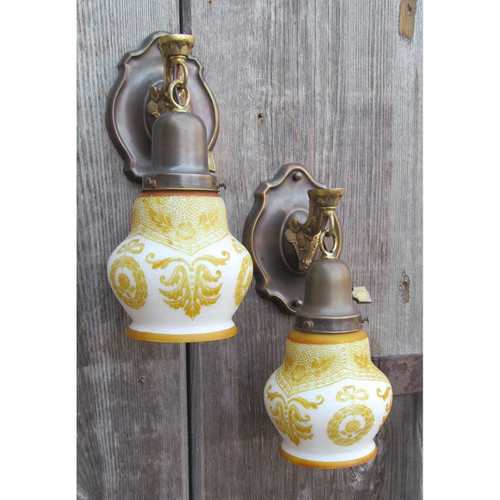 L12381 - Pair of Antique Colonial Revival Wall Sconces with Calcite Shades