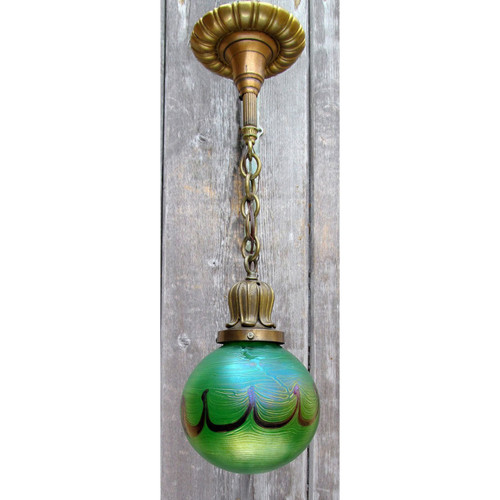 L12383 - Antique Pendant Light Fixture with Art Glass Globe