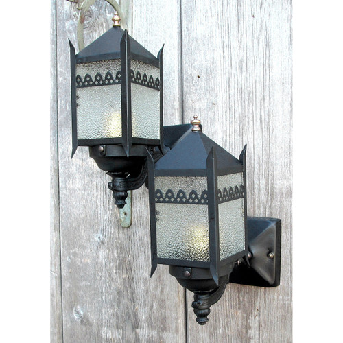 L13051 - Pair of Antique Exterior Wall Sconces with Granite Glass