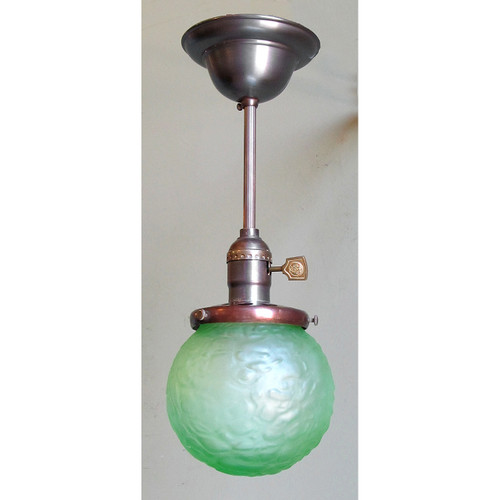 L13145 - Antique Arts and Crafts Pendant Light Fixture with Art Glass