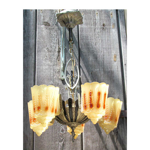 608049 - Antique Art Deco Ceiling Light Fixture with Slipper Shades