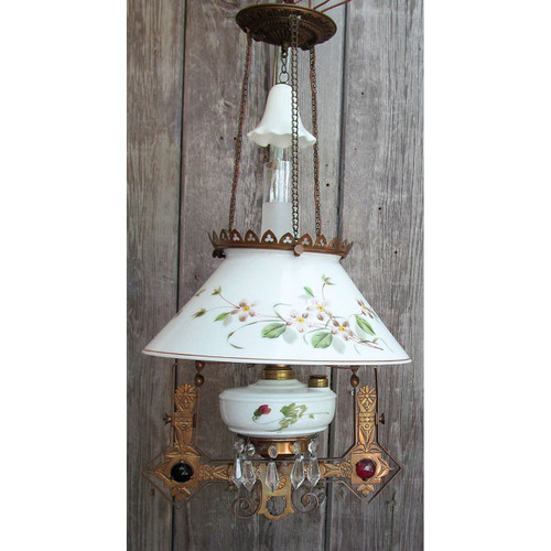 L13200 - Antique Victorian Bronze Kerosene Library Hanging Lamp