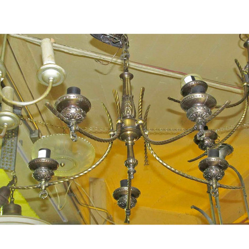 L13206 - Vintage Classically Inspired Five Light Hanging Fixture - Unrestored