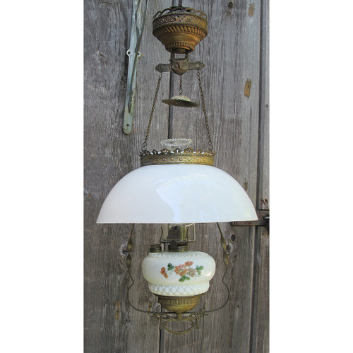 L13276 - Antique Late Victorian Hanging Kerosene Lamp