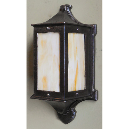 L14013 - Antique Arts and Crafts Three Sided Lantern Sconce