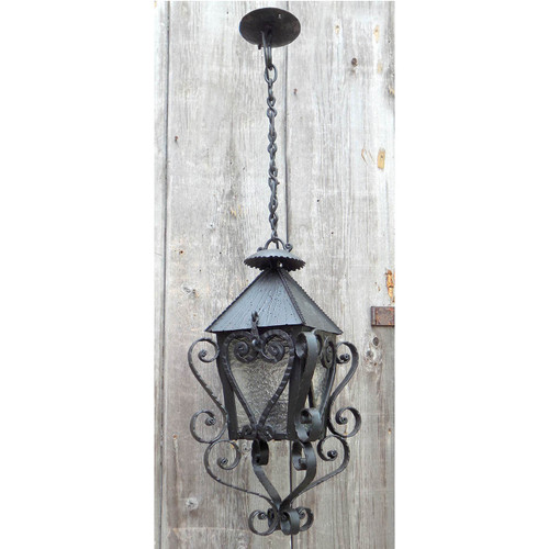 L14055 - Antique Tudor Revival Wrought Iron Lantern Fixture