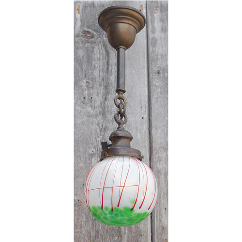 609186 - Antique Colonial Revival Pendant Fixture with Loetz Art Glass Globe