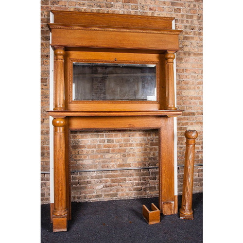 M14015 - Antique Late Victorian Quartersawn Oak Full Mantel