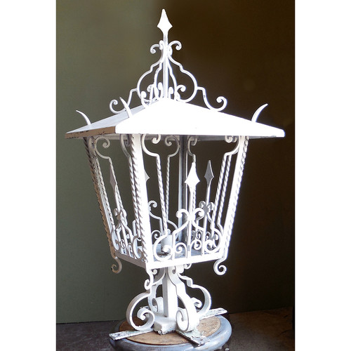 L14119 - Antique Mediterranean Revival Wrought Iron Lantern Fixture