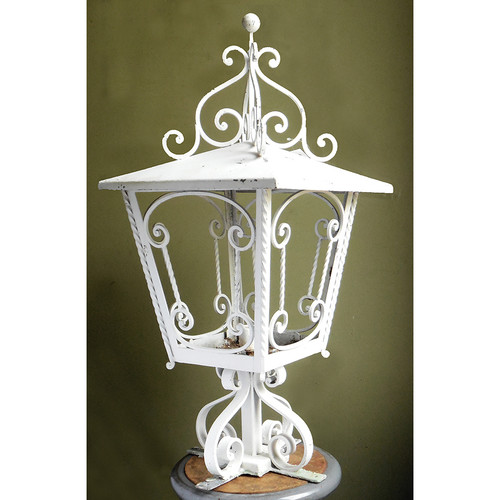 L14120 - Antique Mediterranean Revival Wrought Iron Lantern Fixture - Unrestored