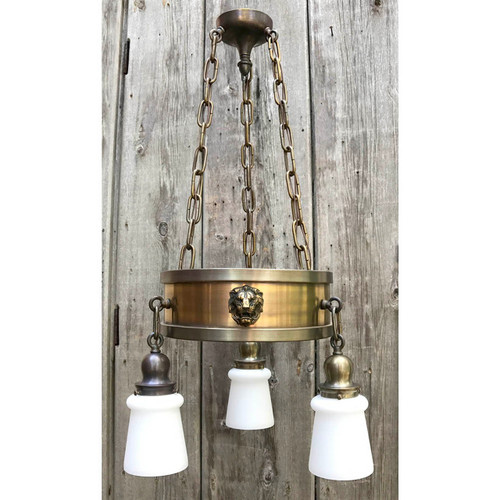 L14156 - Antique Revival Period Brass Three Light Hanging Fixture